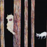 th2015_no.12 田中千智「かくれんぼ(ケモノと怒った猫)」[Hide-And-Seek(Beast and Angry Cat)]2015、10M、33.3×53.0 cm、15-029、2015ArtFairTokyo