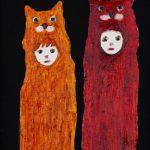 th2015_no.15 田中千智「2人のケモノ」[Two Beasts]2015、0弱、15.0×10.0 cm、15-072、2015画廊の夜会