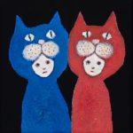 th2015_no.42 田中千智「青いねこ・赤いねこ」[Blue Cat・Red Cat]2015、mini、10.0×10.0cm、201509ArtFairAsia@福岡